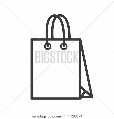 Paper shopping bag linear icon. Filming item thin line illustration. Vector isolated outline drawing