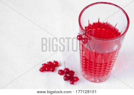 Drink Red Currant In A Beautiful Transparent Glass