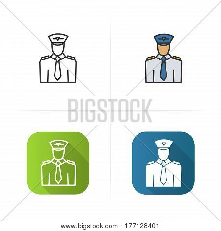 Pilot icon. Flat design, linear color styles. Isolated vector illustrations