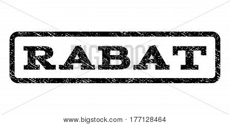 Rabat watermark stamp. Text caption inside rounded rectangle frame with grunge design style. Rubber seal stamp with unclean texture. Vector black ink imprint on a white background.