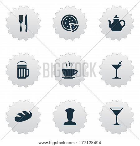 Vector Illustration Set Of Simple Beverage Icons. Elements Wineglass, Pepperoni, Kettle And Other Synonyms Wineglass, Hot And Tea.
