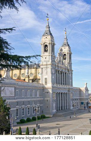 Entrance to Santa Maria la Real de La Almudena cathedral in Madrid Spain