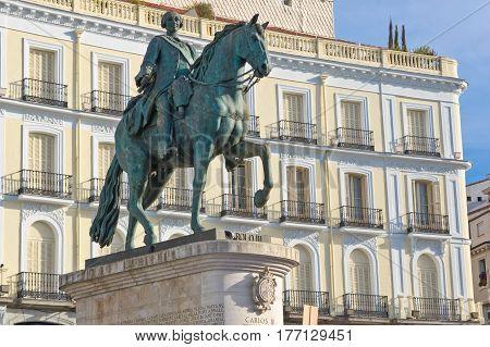 Statue of Carlos III on Puerta del Sol in Madrid Spain