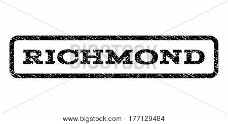 Richmond watermark stamp. Text caption inside rounded rectangle frame with grunge design style. Rubber seal stamp with dirty texture. Vector black ink imprint on a white background.