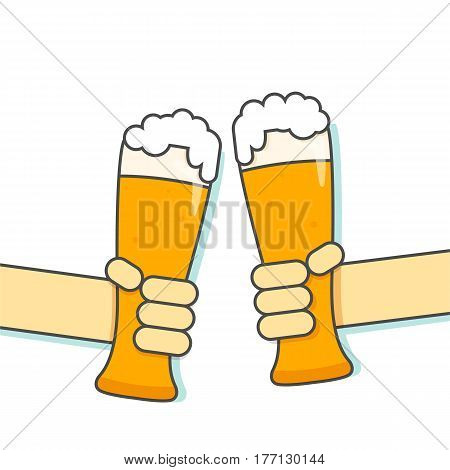 Glass with beer in hand. Vector line illustration