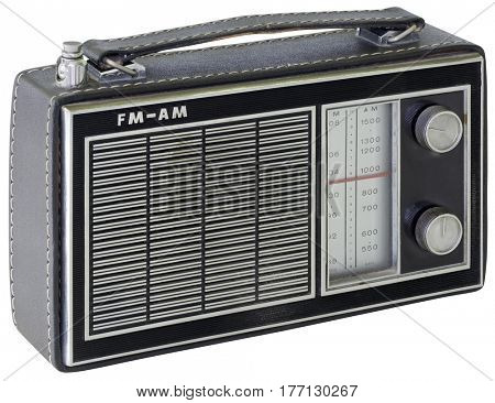 Black Portable Transistor Radio Isolated with Clipping Path