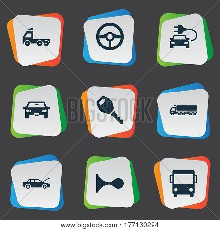 Vector Illustration Set Of Simple Transport Icons. Elements Car Charging, Klaxon, Repairing Service And Other Synonyms Key, Motorcar And Delivery.