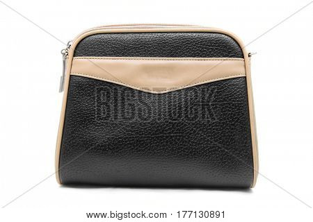 black brown fake leather woman bag isolated on white