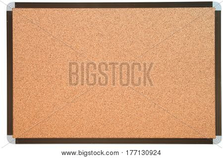 empty notice cork board with white frame