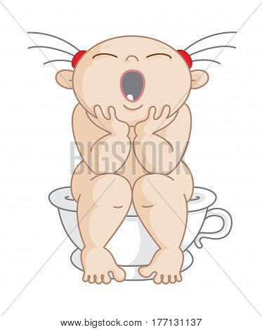 Potty Girl. Vector Illustration of a Little Girl Yawning on her potty. This Illustration can be used as Girl's restroom sign.