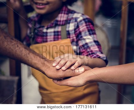 Family Hands Out Together Teamwork poster