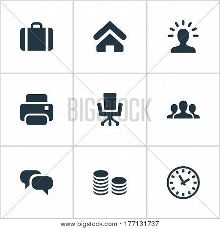Vector Illustration Set Of Simple Business Icons. Elements Group, Work Seat, Printing Machine And Other Synonyms Money, Seat And Watch.