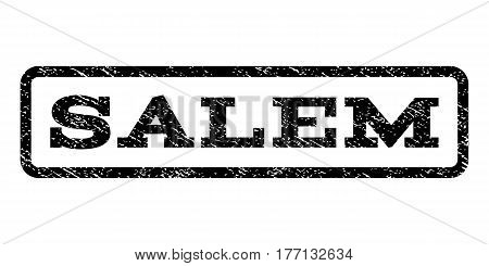 Salem watermark stamp. Text caption inside rounded rectangle with grunge design style. Rubber seal stamp with scratched texture. Vector black ink imprint on a white background.