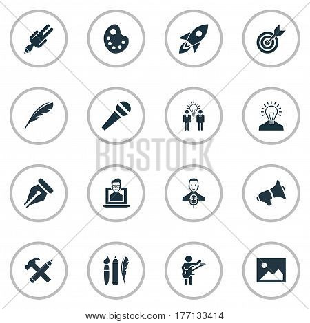 Vector Illustration Set Of Simple Visual Art Icons. Elements Writing Tool, Apathy, Creative And Other Synonyms Microphone, Tool And Photo.