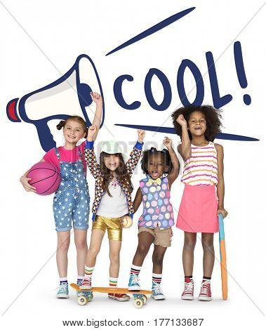 Cool Kids Megaphone Speaker Graphic