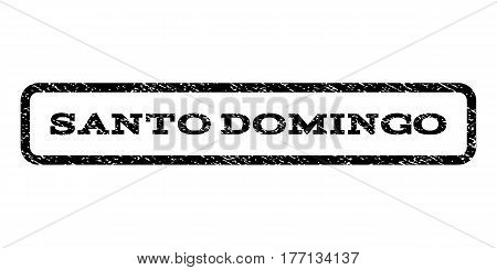 Santo Domingo watermark stamp. Text tag inside rounded rectangle with grunge design style. Rubber seal stamp with unclean texture. Vector black ink imprint on a white background.