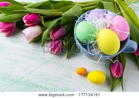 Easter background with pastel color hand painted eggs in the blue cup and pink tulip. Happy Easter greeting card. Happy Easter greeting card copy space.