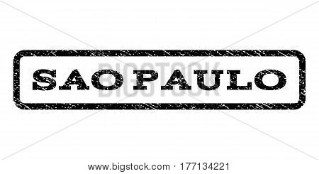 Sao Paulo watermark stamp. Text caption inside rounded rectangle frame with grunge design style. Rubber seal stamp with scratched texture. Vector black ink imprint on a white background.
