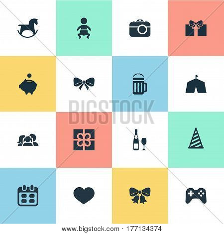 Vector Illustration Set Of Simple Celebration Icons. Elements Knot, Camera, Circus And Other Synonyms Days, Cap And Baby.