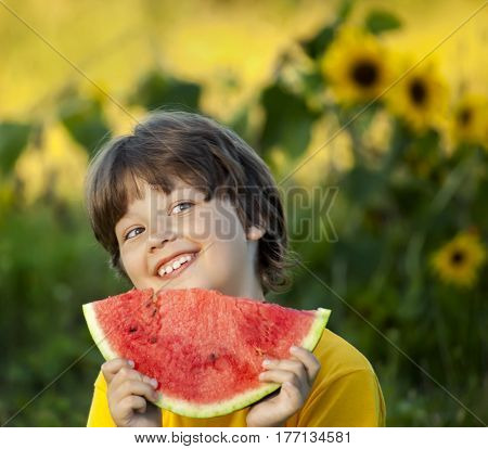 Happy child eating watermelon in the garden. Boy with fruit outdoors park.