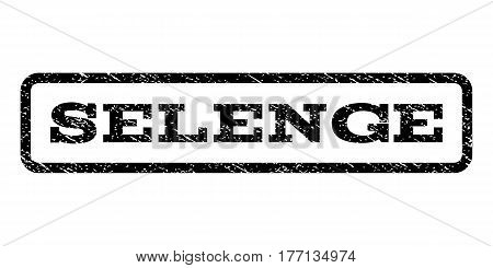 Selenge watermark stamp. Text tag inside rounded rectangle frame with grunge design style. Rubber seal stamp with scratched texture. Vector black ink imprint on a white background.