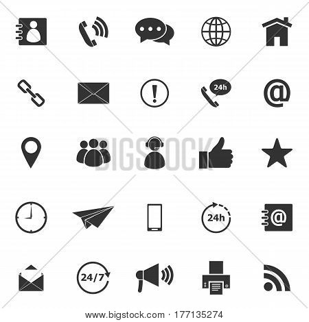 Contact us icons on white background, stock vector