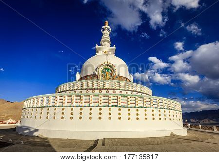 Shanti Stupa on the hilltop in the city of Leh, Kashmir, India