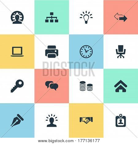 Vector Illustration Set Of Simple B2B Icons. Elements Direction, Computer, User And Other Synonyms Bulb, Laptop And Clock.