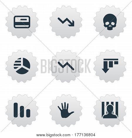 Vector Illustration Set Of Simple Trouble Icons. Elements Downward, Bar Graph, Palm And Other Synonyms Round, Chart And Decreasing.