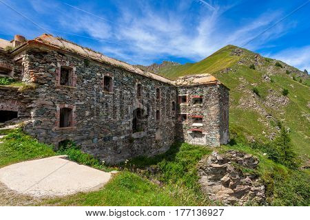 Old abandoned military fort on the mountain pass of Colle delle Finestre in Piedmont, Northern Italy.