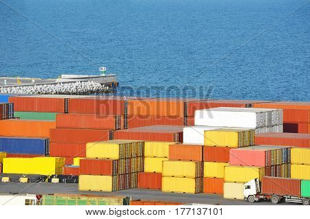 Cargo Container In Port