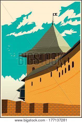 Stylized vector composition on the theme of old castles and fortresses in retro style poster