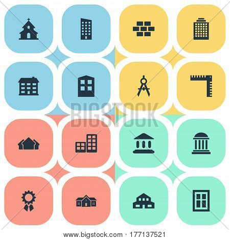 Vector Illustration Set Of Simple Structure Icons. Elements Reward, Stone, School And Other Synonyms Academy, Realty And Residential.