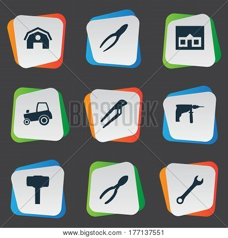 Vector Illustration Set Of Simple Repair Icons. Elements Adjustable Wrench, Cutters, Agriculture Transport And Other Synonyms Farming, Mechanical And Spanner.