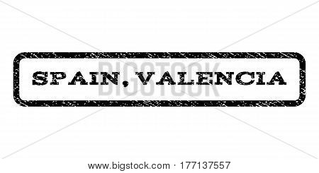 Spain, Valencia watermark stamp. Text caption inside rounded rectangle with grunge design style. Rubber seal stamp with scratched texture. Vector black ink imprint on a white background.