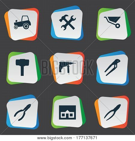 Vector Illustration Set Of Simple Axe Icons. Elements Adjustable Wrench, Clipping Tool, Agriculture Transport And Other Synonyms Electric, Property And Repair.