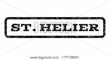 St.Helier watermark stamp. Text caption inside rounded rectangle with grunge design style. Rubber seal stamp with dirty texture. Vector black ink imprint on a white background.