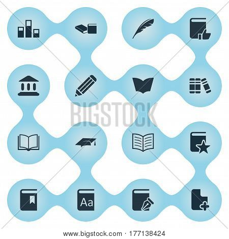 Vector Illustration Set Of Simple Knowledge Icons. Elements Reading, Stack, Plume And Other Synonyms Pen, Reading And Textbook.