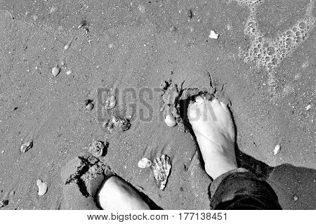 Bare Feet On Sandy Shore - Black And White