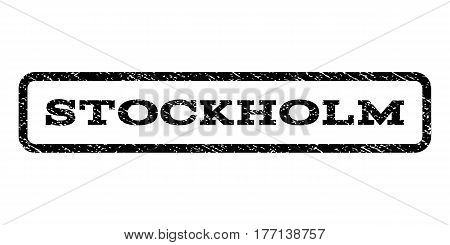Stockholm watermark stamp. Text caption inside rounded rectangle frame with grunge design style. Rubber seal stamp with unclean texture. Vector black ink imprint on a white background.