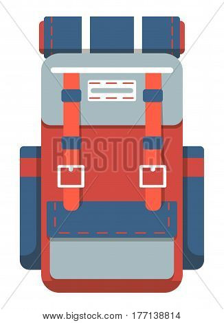 Camping and travel backpack icon vector illustration isolated on white background. Red and blue tourist back pack in flat design. Camp and hike bag and knapsack.