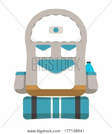 Tourist travel backpack icon vector illustration isolated on white background. Grey and blue travel back pack in flat design. Camp and hike bag and knapsack.