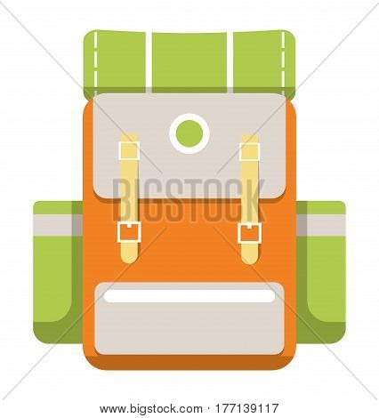 Medium travel backpack icon vector illustration isolated on white background. Orange and green tourist backpack in flat design. Camp and hike bag and knapsack.