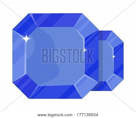 Jewelry sapphire icon vector illustration isolated on white background. Blue precious stone, colorful gemstones, jewel crystal, cut gem in flat design.