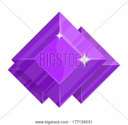 Jewelry amethyst icon vector illustration isolated on white background. Purple precious stone, colorful gemstones, jewel crystal, cut gem in flat design.