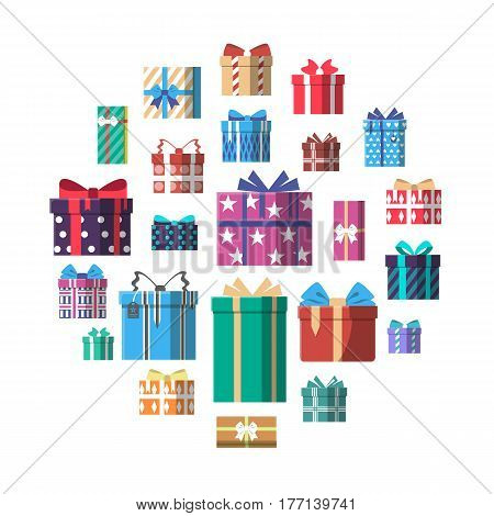 Colorful gift box with ribbon and bow icon set vector illustration. Birthday or christmas box surprise collection isolated on white background. Wrapped gift boxes, holiday present in flat style.