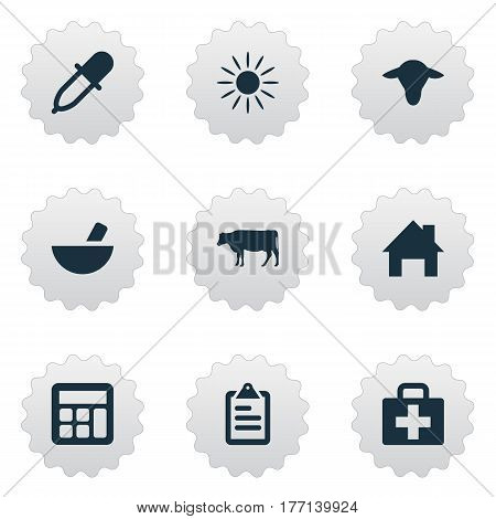 Vector Illustration Set Of Simple Harvest Icons. Elements Buffalo, Medical Kit, Ranch Home And Other Synonyms Information, Accounting And Medicine.