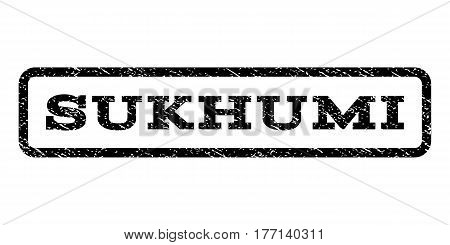 Sukhumi watermark stamp. Text tag inside rounded rectangle frame with grunge design style. Rubber seal stamp with dirty texture. Vector black ink imprint on a white background.