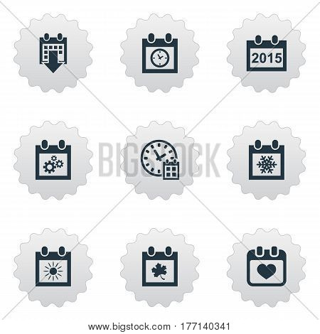 Vector Illustration Set Of Simple Plan Icons. Elements Annual, Heart, Snowflake And Other Synonyms Agenda, Sun And Almanac. poster