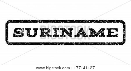 Suriname watermark stamp. Text tag inside rounded rectangle with grunge design style. Rubber seal stamp with dirty texture. Vector black ink imprint on a white background.